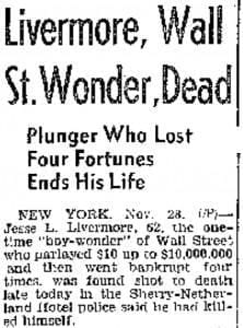 Jesse Livermore dead