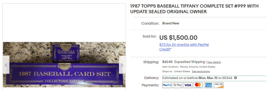 1987 topps complete set